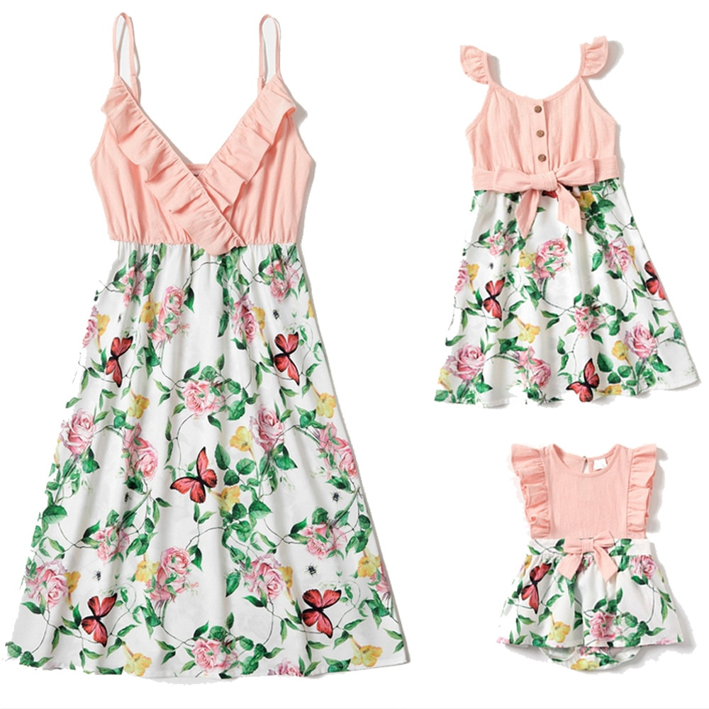 New Summer Mommy and Me Clothes Floral Patchwork Sleeveless Mother and Daughter Dress Toddler Baby R