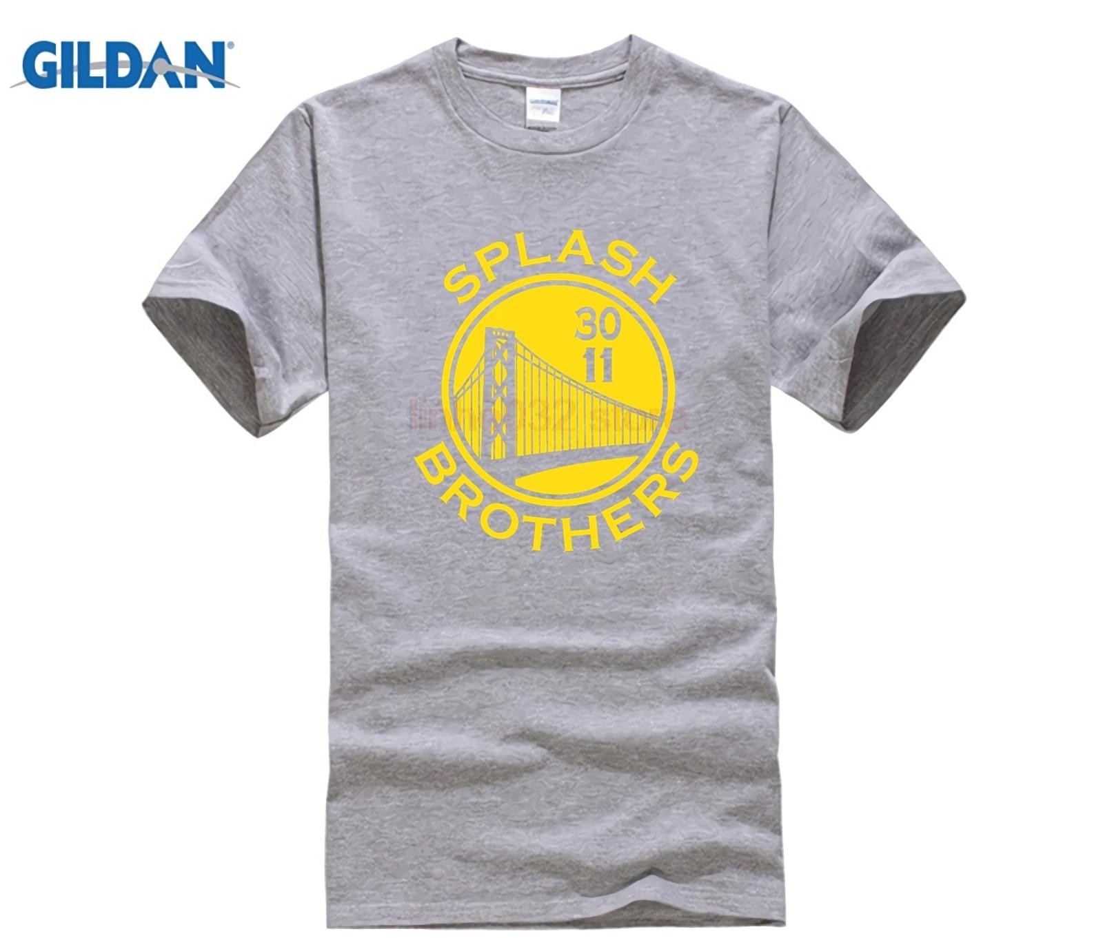 Gildan designer t camisa venda quente super criativo respingo camisa estado dourado stephen curry klay thompson camisetas masculinas