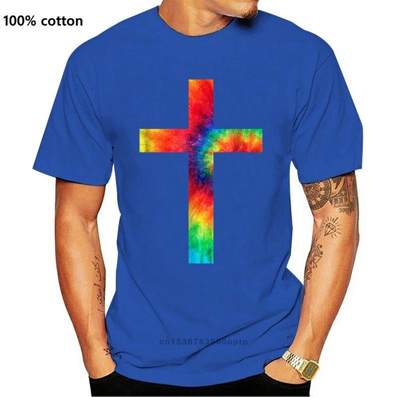 Gravata corante cruz gravata tingida religião t camisa vintage camiseta
