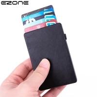 ezone business card case slim rfid blocking wallet credit id card holder carbon fiber anti theft hand push wallet 6 39 5cm gift