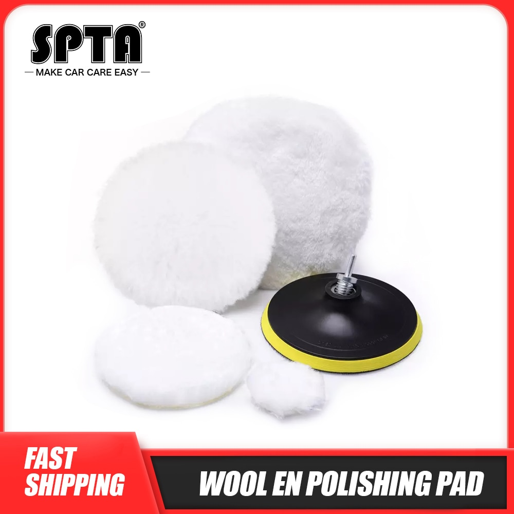 2 3 4 5 6 7 pouces tampons de polissage en laine, tampons de polissage avec adaptateur de forage pour le polissage de voiture