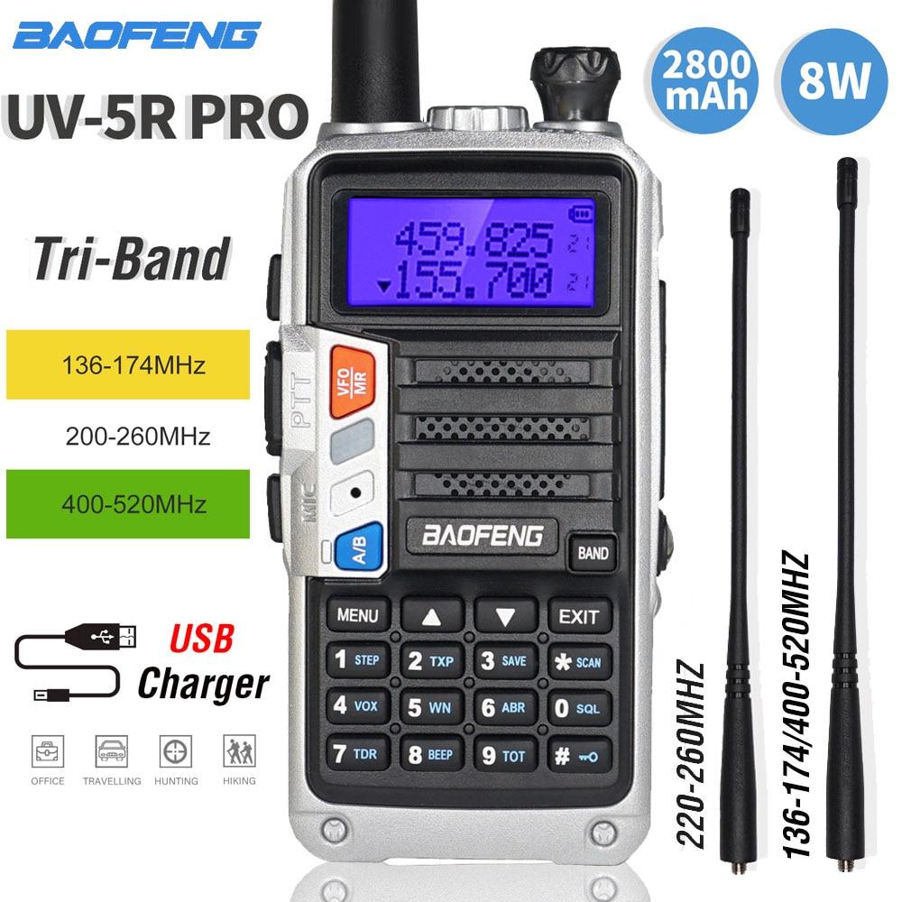Baofeng UV-5R Pro Tri-Band Walkie Talkie 8W High Power Portable Two Way Radio UV 5R Upgrade Amateur CB Ham Radio FM Transceiver
