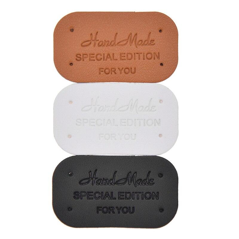 24 unidades por paquete, etiquetas de cuero PU hechas a mano para manualidades, etiquetas para manualidades, edredones, ropa, bolsos, accesorios para decoración de zapatos