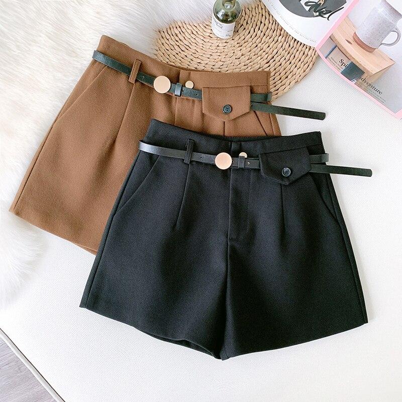 Wasteheart Winter Black Khaki Shorts Women High Waist Shorts Camel Bottom Zipper PU Sashes England Style OL Formal Woolen