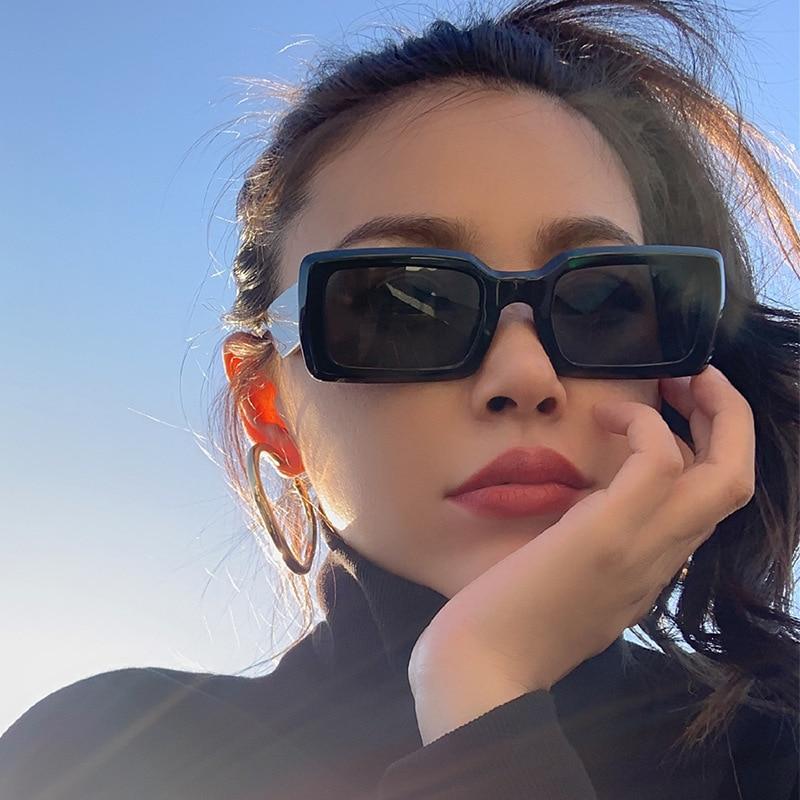 Женские прямоугольные солнцезащитные очки в стиле ретро, черные и серые зеркальные очки, солнцезащитные очки Uv400, модные сексуальные очки, о...