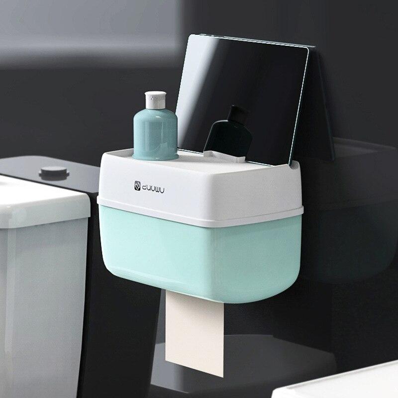 Caja de almacenamiento de papel Portarrollos de papel higiénico de baño soporte de pared de plástico para baño soporte de papel de váter de teléfono con estante de almacenamiento