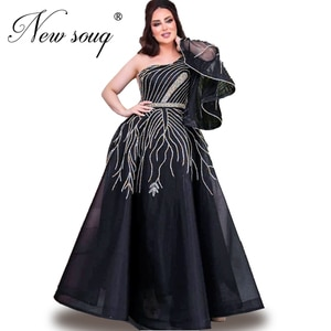 Elegant Prom Dresses Beaded Crystals Party Dress 2020 Robe De Soiree Muslim Special Occasion Women Evening Gown One Shoulder