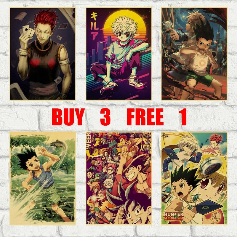 Hunter X Hunter Classic Japanese Anime Retro Kraft Paper Poster Bar Office Cafe Home Art Wall Stickers