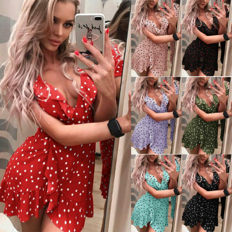 Boho Women Summer Polka Dot Short Dress V-neck Ladies Holiday Beach Mini Dress