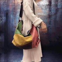 Bolso de mujer Vintage 2020, bandolera de hombro de cuero cepillado, bolso grande de cuero de moda Guangzhou para mujer