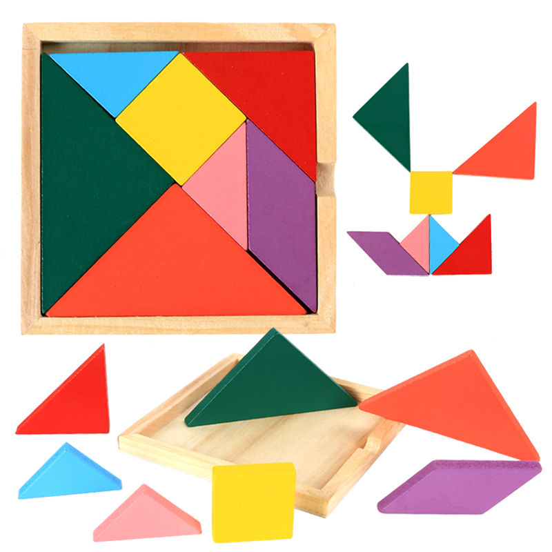 Envío gratis de rompecabezas de madera Tangram, 4 Uds. De modelos de construcción, rompecabezas de madera educacional para niños, juguetes para niños, mini rompecabezas