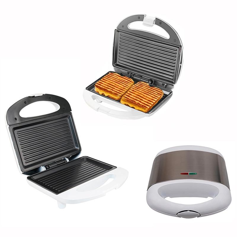 Stainless Steel Breakfast Machine 220V 850W Double-sided Stripes Panini Machine Steak Squid Electro-thermal Sandwich Machine
