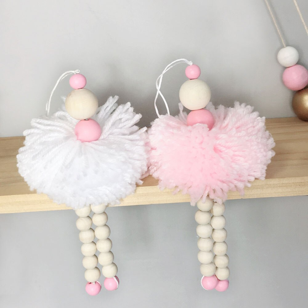 Ballet Dancer Hanging Decoration Girl Adornment Wooden Beads Toy For Wall Shelf Baby Kids Room Nursery Ornament Photography Prop