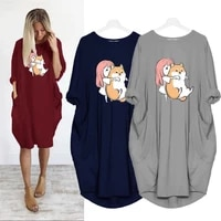 dress for women thin party sundress solid color kawaii cartoon girl with a dog vetement femme