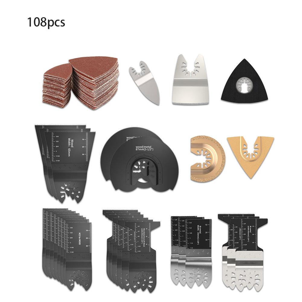 108pcs Quick-Release HCS/Japan-Tooth/Bi-Metal Oscillating Tool Multi-Function Tool Saw Blades Cutting Renovator Trimmer Blades