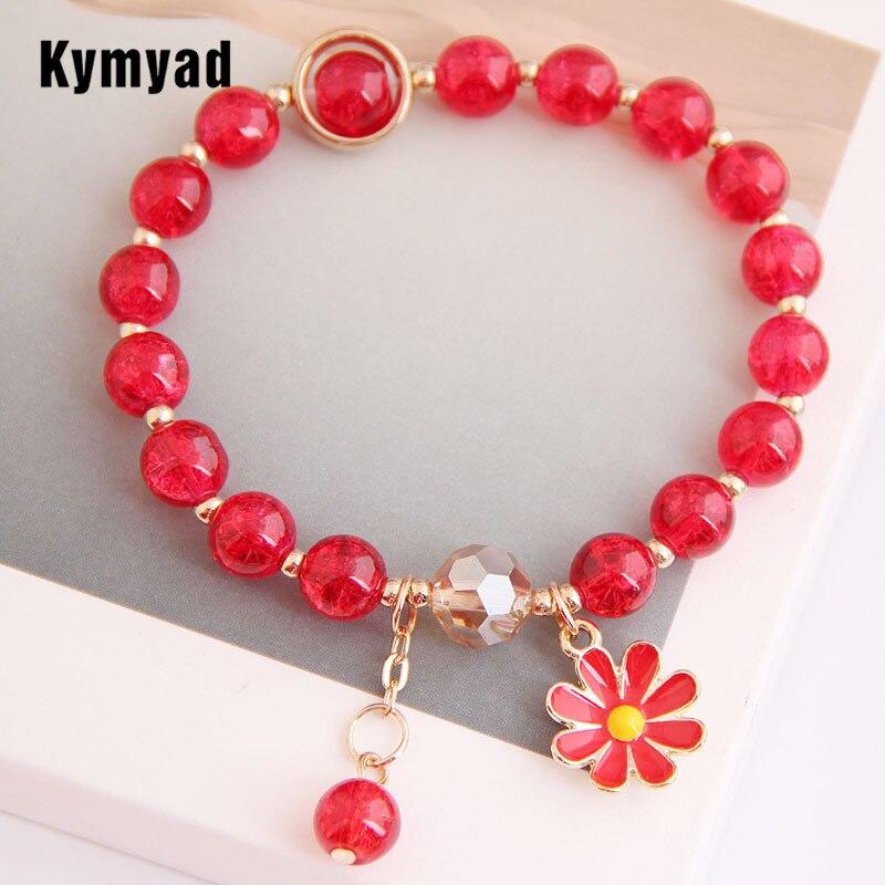 Kymyad, pulseras de cuentas de resina bohemias para mujeres, joyería colorida Bohemia, joyería esmaltada, abalorio floral, brazalete, joyería femenina