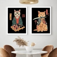 sushi and cats canvas painting japanese retro poster pop art print funny cat wall art picture for bedroom office home decoration