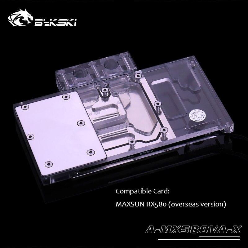 Bykski GPU bloque de refrigeración por agua para MAXSUN RX580 radiador de cobre VGA Versión en el extranjero, A-MX58OVA-X de iluminación de interfaz de 3 pines y 4 pines