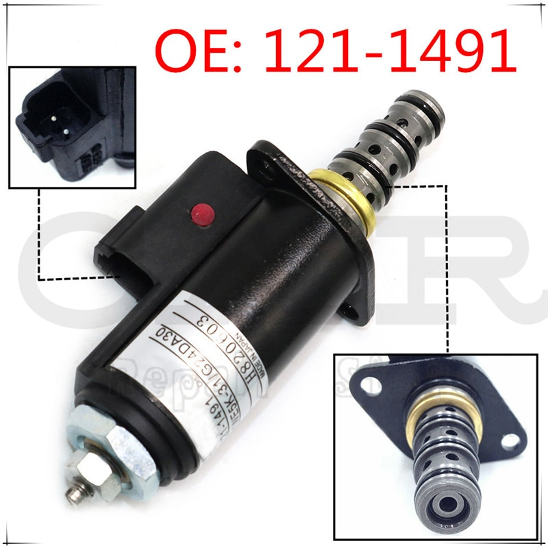 121-1491 nuevo solenoide válvula para Caterpillar E320B/C/D 315C 325C válvula solenoide excavador giratorio 1211491 KWE5K-31 G24DA30 CAT