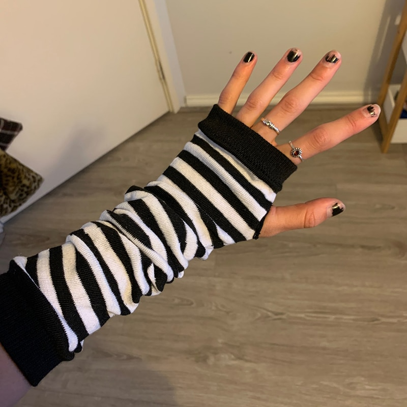 women striped elbow gloves spring autumn solid color fashion lady warm knitted long fingerless gloves high quality elbow mittens Women Fashion Lady Striped Elbow Gloves Warmer Knitted Long Fingerless Gloves Elbow Mittens Christmas Accessories Gift