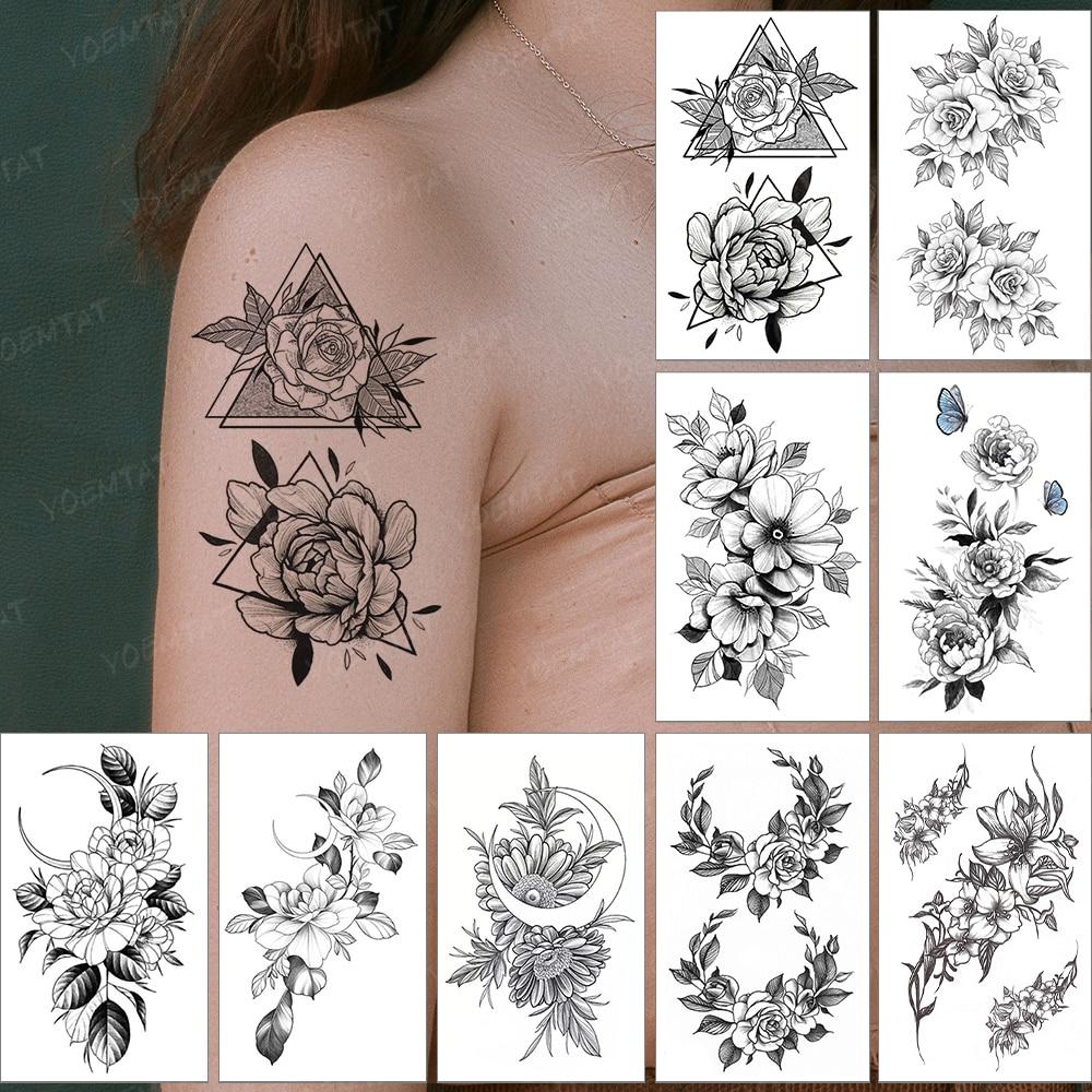 Водостойкая Временная тату-наклейка, женщина, пион, роза, цветок, Бабочка, флэш-тату, Мужская рука, геометрия, боди-арт, искусственная тату дл...