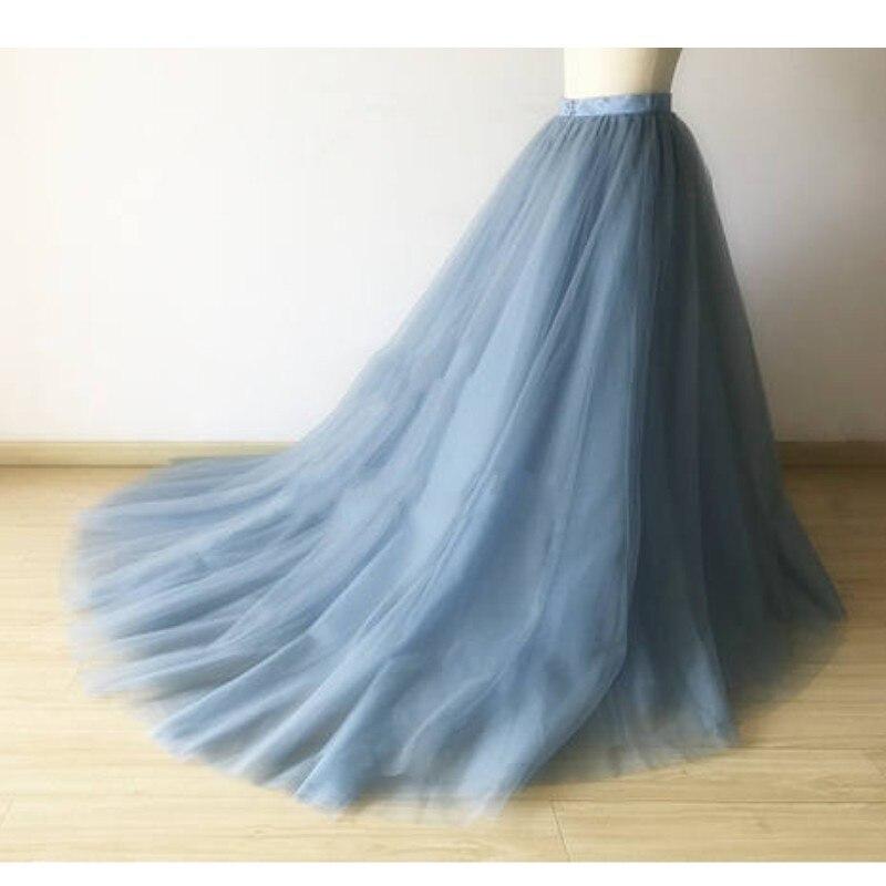 Falda con imagen Real, Faldas azules polvorientas para mujer, banda de satén, cintura, cremallera, malla, Faldas, falda de tul tutú, largo completo Maxi