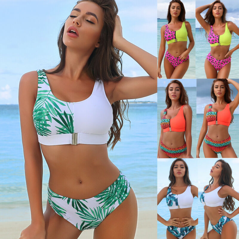 Las mujeres leopardo Zip Bikini señora push-up acolchado sujetador de bañador traje de baño Bikinis
