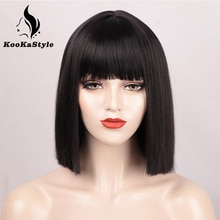 KookaStyle Synthetic Wigs Short Bob Wigs with Bangs for Black Women Straight Wigs Pink Cosplay Wigs Shoulder Length Bangs Hair