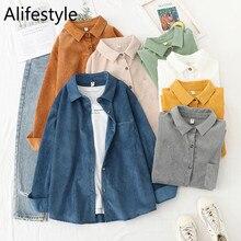 Blusa holgada de pana para mujer, camisa de manga larga con botones, color blanco, 2021