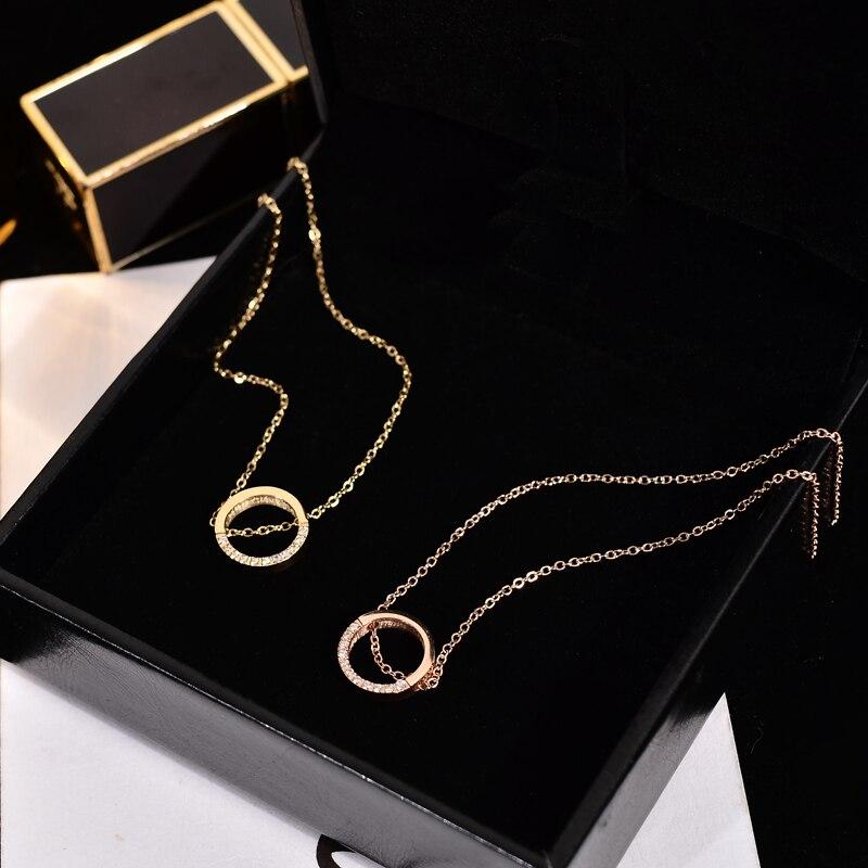 Yun ruo 14 k ouro pavimentar mosaico zircão pingente redondo colar moda 316l titânio aço jóias mulher presente de natal nunca desaparecer