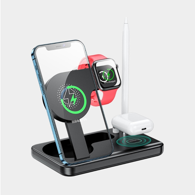 4 in 1 Wireless Charger Foldable Bracket Charging Equipment Built-in Safeguard for Smart Watch Phone Quick Charging 6XDB