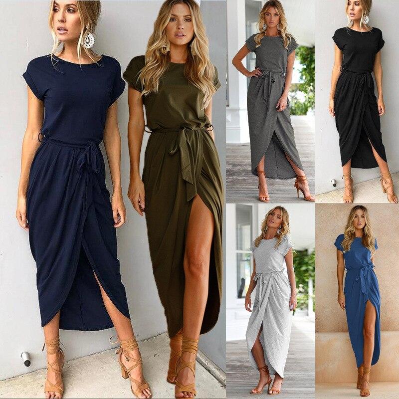 2019 Primavera Verano moda mujer manga corta Raja Irregular vestido Slim Ladies Beach Holiday vestidos Empire Maxi vestido ropa