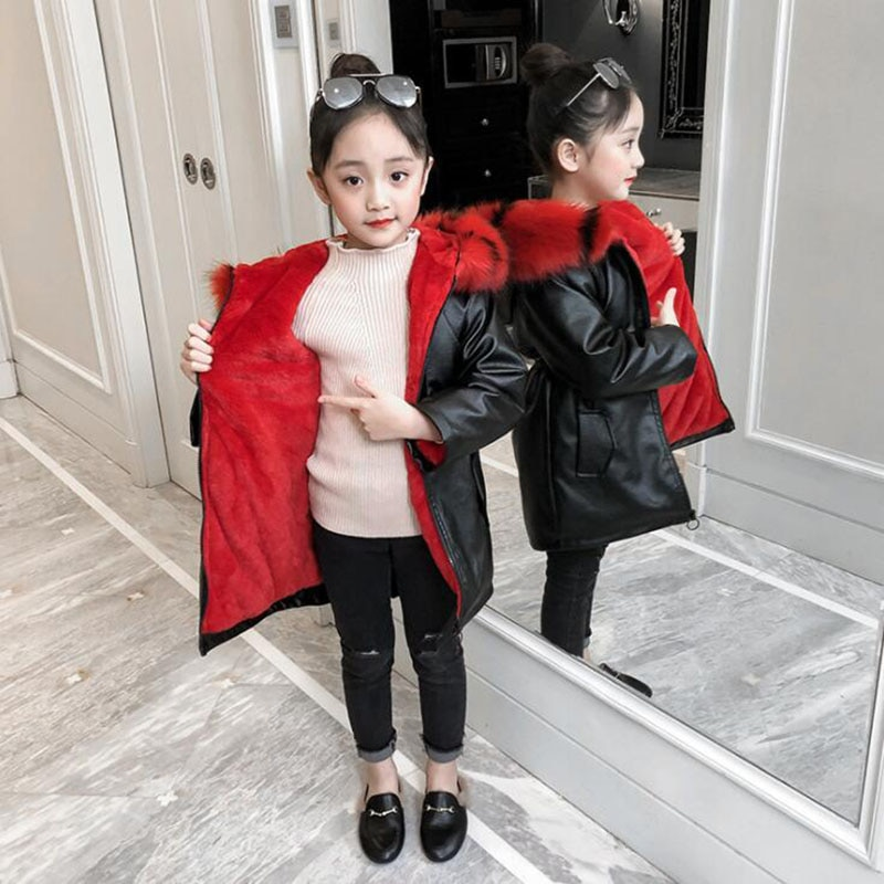 Chaqueta cálida de invierno para Niñas 4-13T niños PU leater terciopelo forro abrigo teeange rompevientos abrigo largo para niñas de cuero de abrigo de los niños