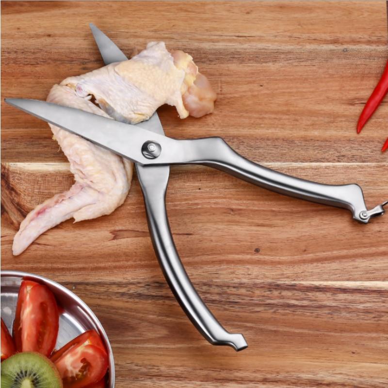 الفولاذ المقاوم للصدأ الدواجن المطبخ الدجاج العظام مقص مع قفل حماية القاطع كوك أداة القص قطع بطة السمك
