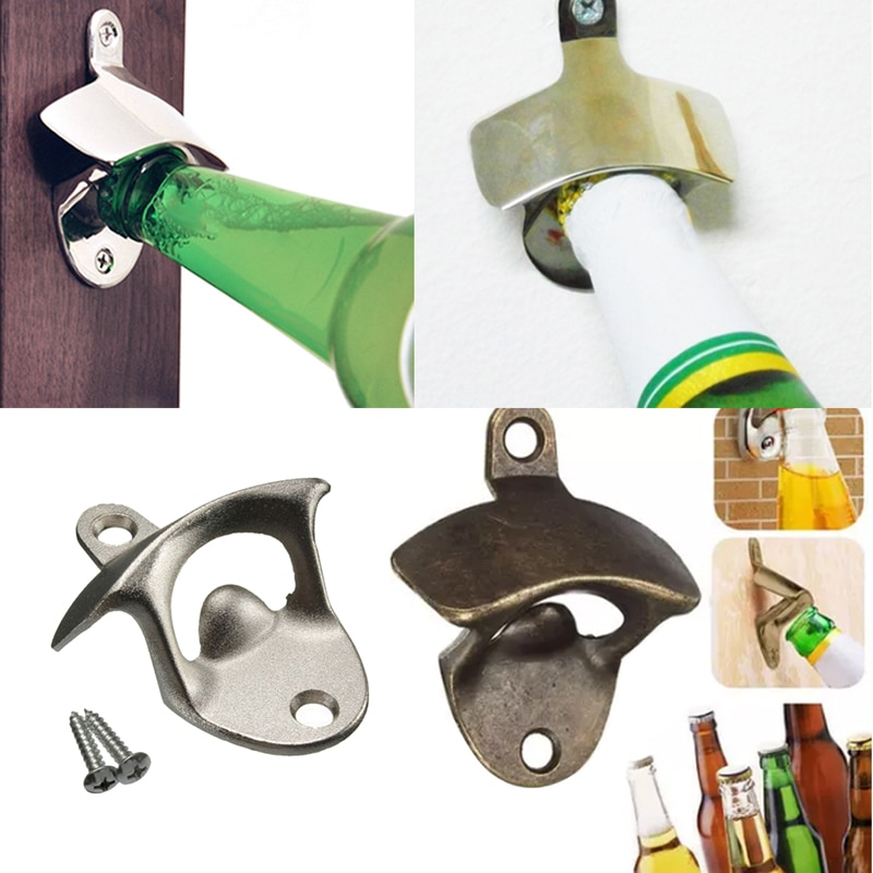 Abridor de botellas Vintage, abridor para cerveza y vino montado en la pared, herramientas para Bar, accesorios para beber, decoración del hogar, suministros para fiestas de cocina