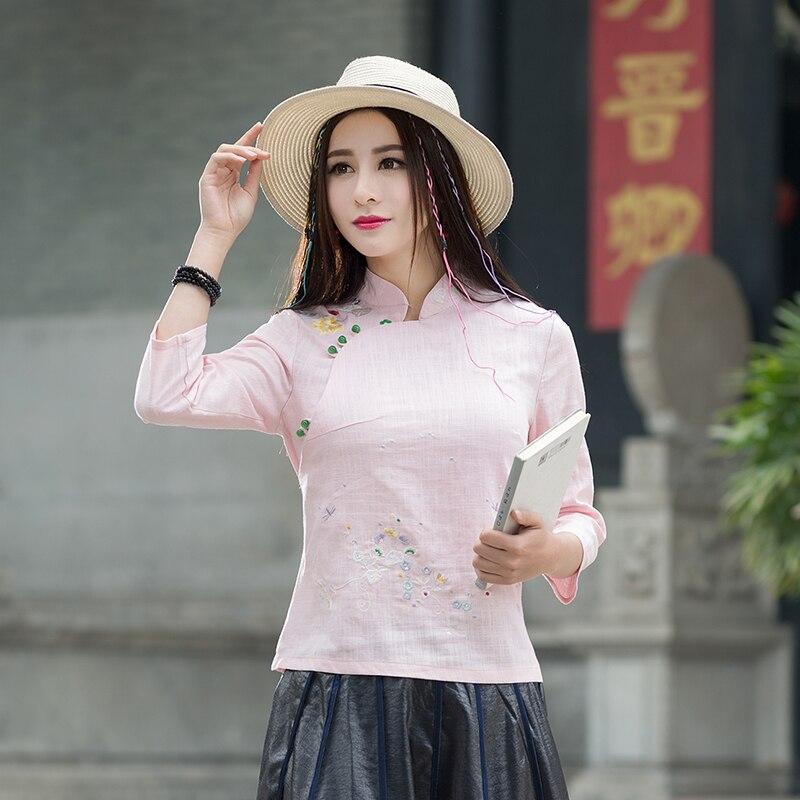 KYQIAO roupas feminina mujeres tops chicas Chino Mandarín collar de manga de tres cuartos de algodón étnico blusa bluzki damskie
