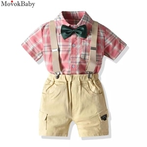 Baby Boy Clothes Toddler Infant Baby Summer Children Fashion Clothes Set Kids Outfit Plaid Pocket Jackets Shirt + Khaki Shorts