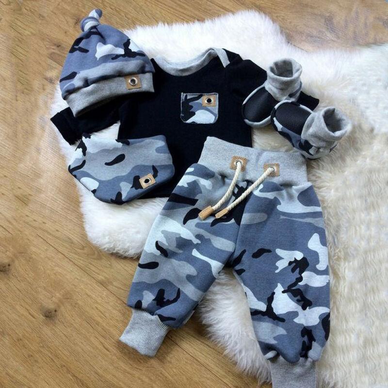 3pcs Newborn Infant Baby Boy Clothes Camouflage Top Long Pants Hat Outfits Set 0-24M