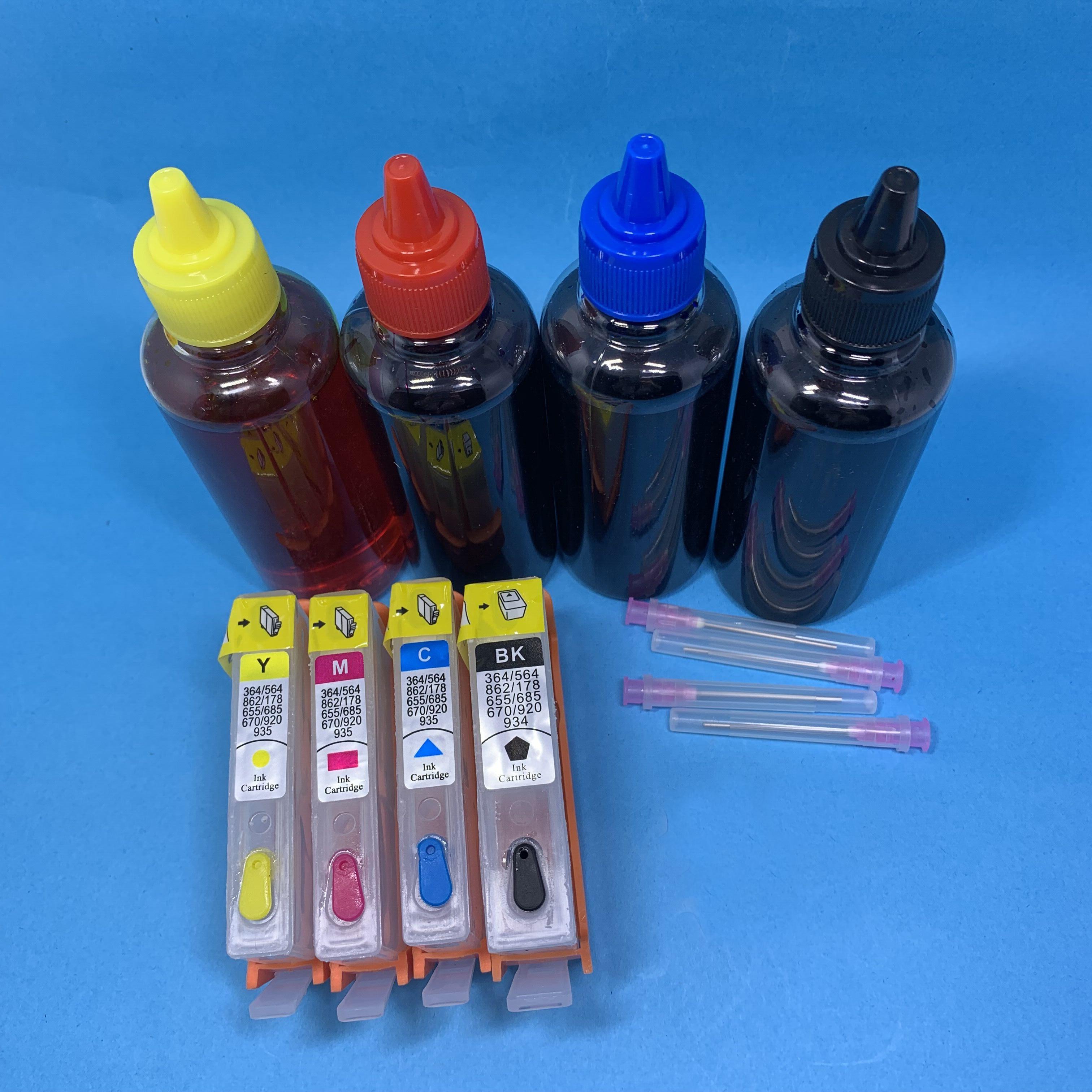 Yotat 4*100ml tinta corante + recarregáveis para hp920 cartucho de tinta para hp 920 para hp920xl officejet 6000 6500a 7000 7500 7500a impressora