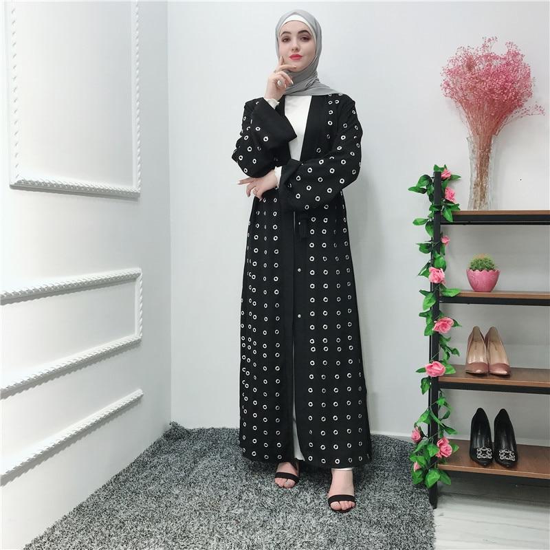 Casual musulmán Metal anillo Abaya estilo vestidos completos Cardigan Kimono vestido largo vestidos remache Medio Oriente Ramadán árabe islámico oración