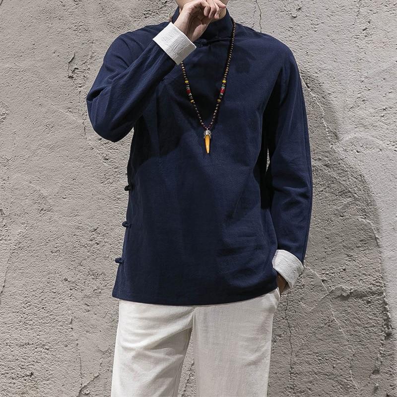 Herren Tradictional Chinesischen Kleidung Baumwolle Leinen Casual Stehkragen Shirts Hanfu Kung Fu Tai Chi Master Kostüm Tops CN-135