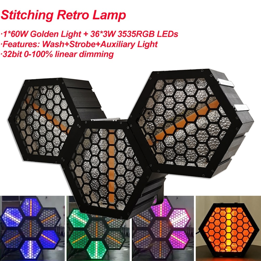 Yuer Stitching Retro Lamp 1x60W Golden COB+ 36x3W 3535RGB LEDs Wash Flash Auxiliary Projector Light DJ Disco Party Stage Lights