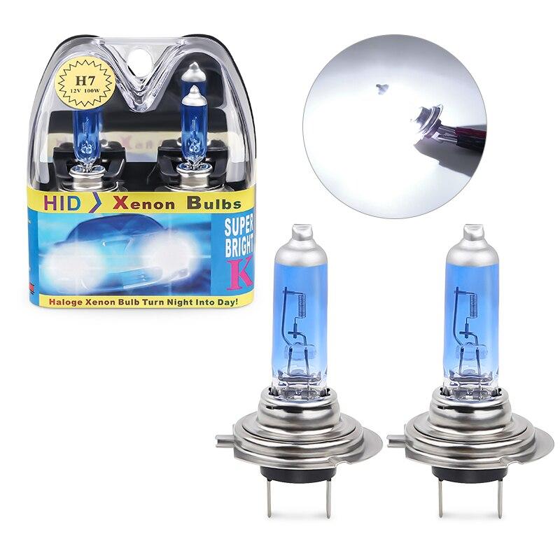 2 uds./1 caja de bombilla halógena para coche H7 55W 100W 6000K faros blancos para automóvil 12V lámpara halógena H7 fuente de luz blanca brillante para coche