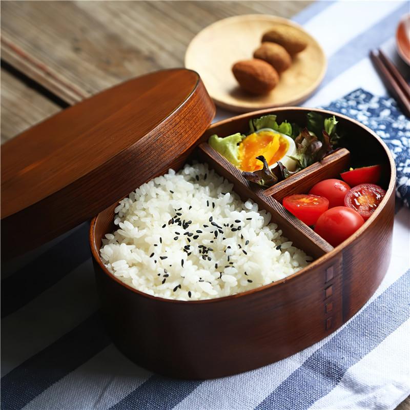 صندوق غداء من الخشب الصلب الياباني ، أدوات مائدة صديقة للبيئة ، صندوق غداء محمول للاستخدام في الهواء الطلق ، أدوات مطبخ صديقة للبيئة