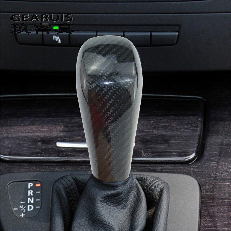 Estilo de coche para BMW Serie 3 E90 E87 X1 E84 Interior parada de arranque de motor de coche Botón de fibra de carbono pegatinas de cambio de engranaje de protectores de decoración