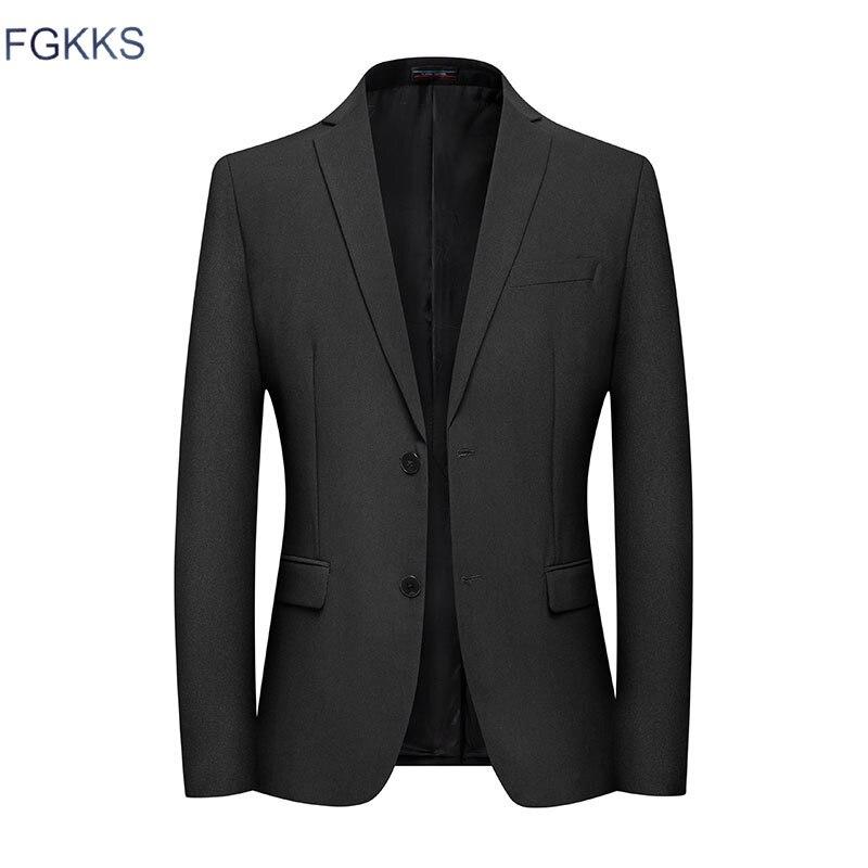 FGKKS, traje de moda para hombre, estilo de negocios, informal, ajustado, Blazer para hombre, Otoño, Color sólido, traje Retro de manga larga para hombre, Jaket