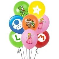 12pcs super mario anime mario bros luigi bowser princess peach mushroom theme balloons childrens birthday party decoration sets