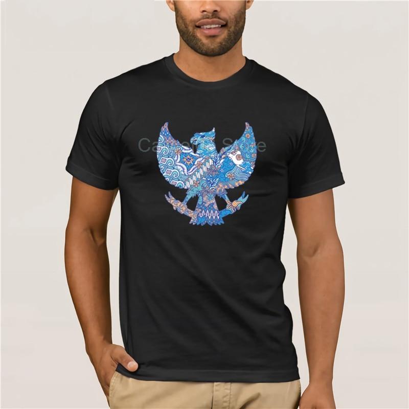 Nova moda outono para batik indonésia em garuda silhueta imagem 100% algodão crewneck masculino hip hop branco t camisa