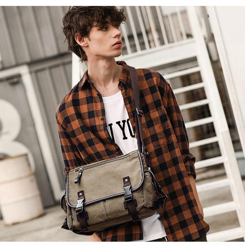 SCIONE, bolsa de mensajero informal de lona para hombres, bolso multibolsillos, bolso para portátil de 14 pulgadas, bolsas de hombro para trabajo, bolsas escolares para adolescentes, 2020