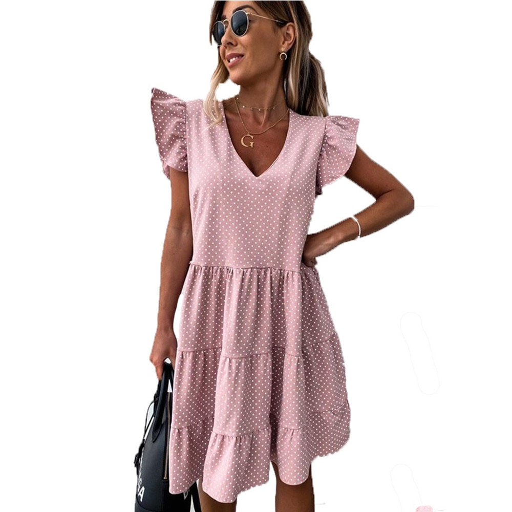 Summer Dress 2021 Women Polka Dot Street  Casual Loose Thin Beach Party Dress Pink V Neck Mini Dress Female Vestidos Mujer